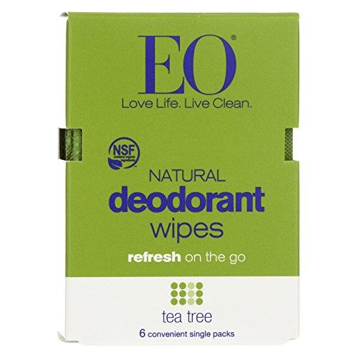 Eo Products Deodorant Wipe - Tea Tree - Case Of 12-6 Count