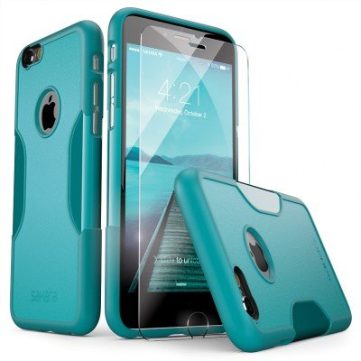 sneakers for cheap 16442 f582b iPhone 6 Case, iPhone 6s Case Aqua Teal SaharaCase with Tempered Glass  Screen Protector Shock-Absorption TPU Rubber Bumper Reinforced Hard Plastic  ...