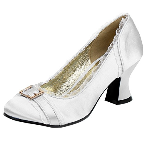 Womens Chunky Heel Pumps Satin Shoes Round Toe Blue Ivory Pink 2 1/2 Inch Heels Size: 9 Colors: Ivory
