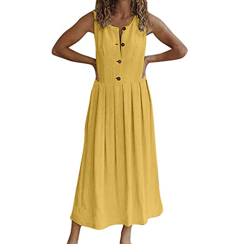 (Women Plus Size Button Dress O-Neck Pure Color Party Sleeveless Sandy Beach Easy Dress by Gyouanime Yellow)