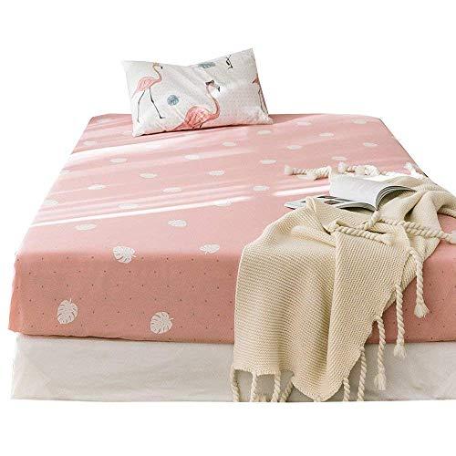 (AMWAN Cotton Leaves Fitted Sheet Twin Pink Kids Girls Bedding Sheet Modern Deep Pocket Bottom Sheet for Teens Children Fresh Soft Mattress Cover for All Seasons Twin Bed Sheet (NO Pillowcases))