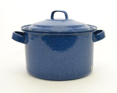 Blue Speckled Enamelware Stock Pot w/Lid-4 Quart, 5H x 8D (Enamelware Stock Pot)