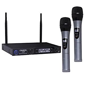 cahaya microphones vhf wireless microphone system with dual channel lcd display for. Black Bedroom Furniture Sets. Home Design Ideas