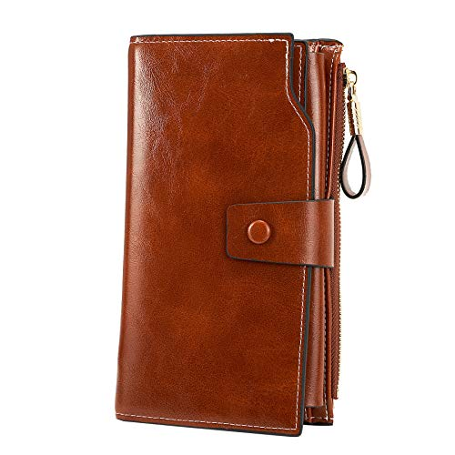 (WOZEAH Women's RFID Blocking Large Capacity Luxury Wax PU Leather Clutch Wallet Card Holder Organizer Ladies Purse (brown))