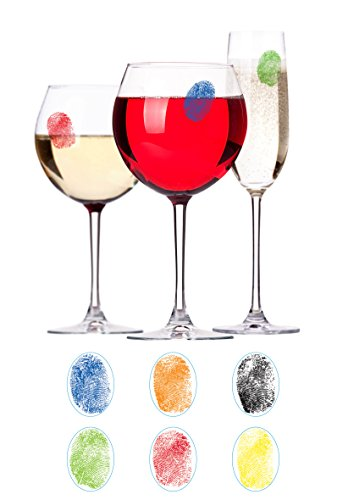 - Barbuzzo Finger Mark Glass Markers - Set of 6 Reusable Vinyl Fingerprint Decals - Assorted Colors - ID Your Drink with Style - Great for Wine Glasses, Champagne Flutes, Pint Glasses & Other Glassware