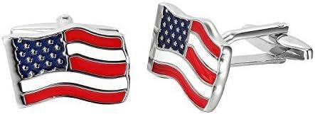 rouge, bleu, blanc, argent drapeau Boutons de manchette pour hommes Urban-Jewelry Acier inoxydable USA