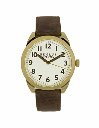 BENRUS Men's BR021-A Infantry Watch with Brown Leather Band