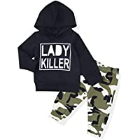 Newborn Baby Boy Clothes Long Sleeve Printed Lady Killer Top Hoodie and Camouflage Pants Outfits Set