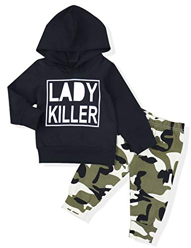 Baby Boy Clothes Long Sleeve Printed Lady Killer Top Hoodie and Camouflage Pants Outfits Set (6-12 Months)