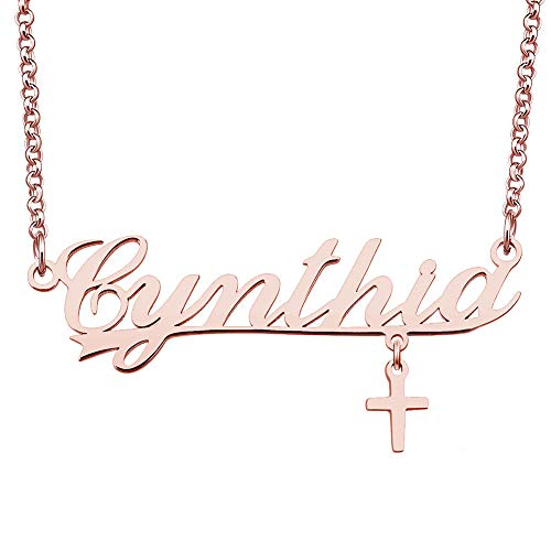 CLY Jewelry Silver Rose Gold Cross Plate Costom Personalized Customized Cynthia Name Necklace
