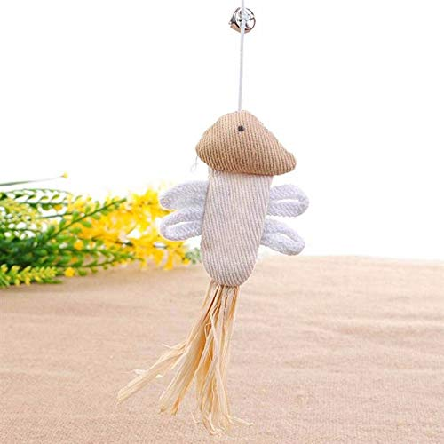 Toys Cats - Funny Interactive Elastic Rod Natural Wood With Bells Mouse Pumpkin Feather Chick Fish Toy - Catnip Independent Pack From Feather Holder Coil Automated Grass Electric Doorway Carro