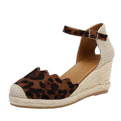 Women's Wedge Espadrilles Ankle Buckle Strappy Cap Toe Cutout Animal Print Slingback Dress Sandals