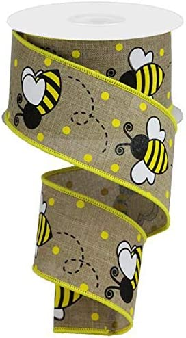Light Beige, 2.5 10 Yards Craig Bachman Bumble Bee Canvas Wired Ribbon