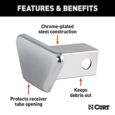 CURT 21900 Chrome Steel Trailer Hitch Cover Fits 1-1/4-Inch Receiver: Automotive
