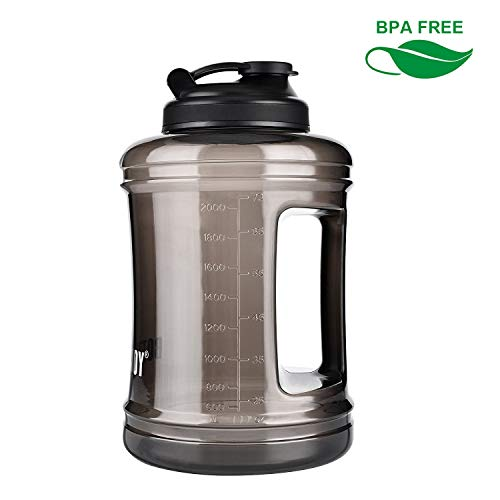 BOTTLED JOY Large Water Jug Half Gallon Water Bottle with Handle, 85 oz BPA Free Sports Water Bottle for Outdoor and Home Drinking (Black, 2.5L)