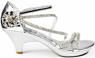 JJF Shoes AG Silver Crystal Flower Rhinestone Evening Dress Ankle Strappy Low Heel Sandals-5