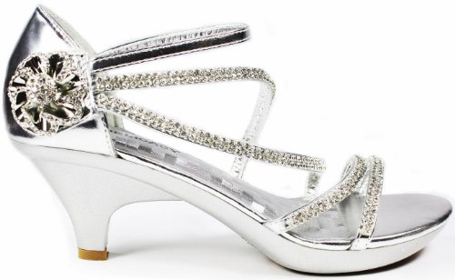 Crystal Ag - JJF Shoes AG Silver Crystal Flower Rhinestone Evening Dress Ankle Strappy Low Heel Sandals-5