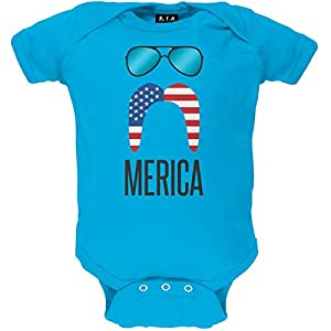 Old Glory Merica Sunglasses and Mustache Baby One Piece - 3-6 months