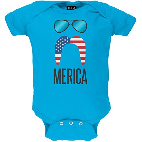 Merica Sunglasses and Mustache Baby One Piece - 3-6 - Old 3 Month Sunglasses