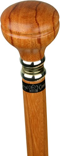 Rosewood Flat Top - Rosewood Flat Top Knob Handle Walking Stick With Rosewood Shaft and Two Tone Collar