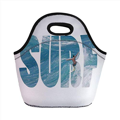 fer Riding Giant Majestic Ocean Wave in Hawaii Adrenalin Epic Athlete Sea Pacific,Blue White Portable Lunch Bag Adult Kids ()