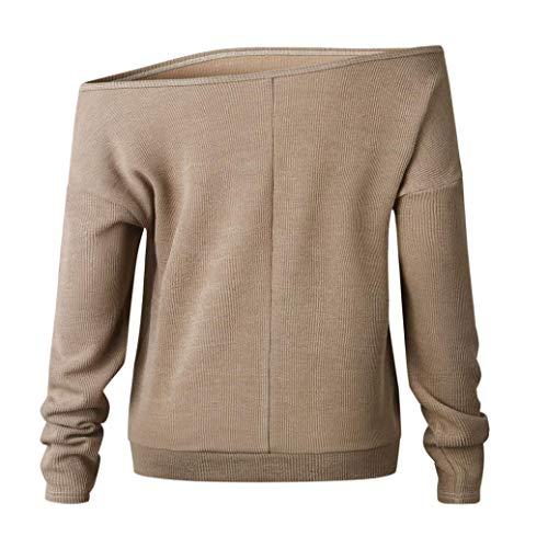Red Off White Women Top Blouse Long Shoulder Black Khaki Khaki XOWRTE Solid Shirt Gray Sleeve Knitted T gwFAq6R