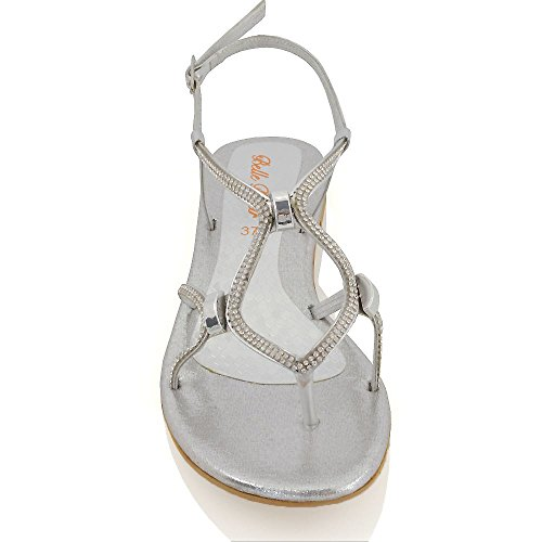 Argento Essex Sandali Glam Diamante Slingback Piatto Scarpa Fibbia Donna 886qZv