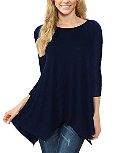 Top Shirt a 3 Camicia Orlo Maglia Casual Manica Elegante 4 Camicetta Tunica Blu Donna Irregolare 8qfvwE