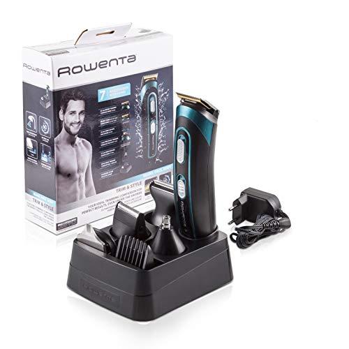 Rowenta TN9130 Trim & Style – Cortapelos para barba y cuerpo 7 en 1, accesorios de afeitado, nariz, oreja, patillas, recorte y afeitador corporal, autonomía 60 minutos y batería recargable