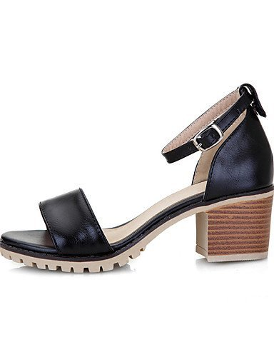 ShangYi Womens Shoes Chunky Heel Open Toe Sandals Office & Career / Dress / Casual Black / Pink / White / Beige Beige