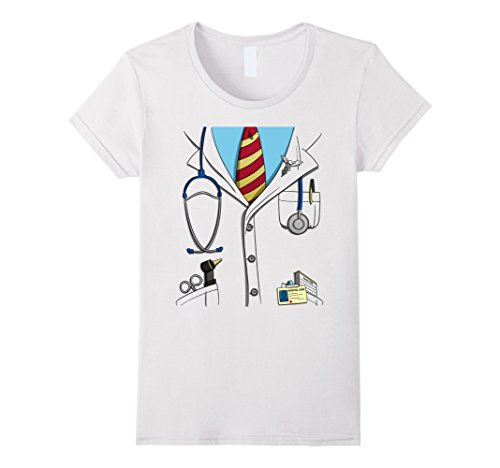 Womens Funny Doctor Costume Lab Coat Uniform Halloween T-Shirt Small White]()