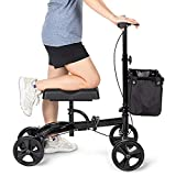 OasisSpace Steerable Knee Walker, Economy Knee Scooter for Foot Injuries Ankles Surgery (Black)