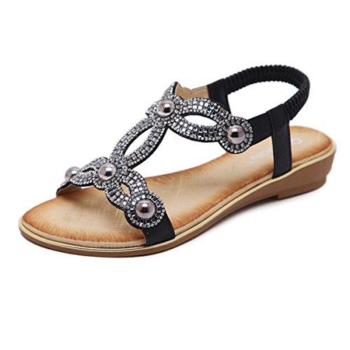 Women T- Strap Thong Flat Sandals Summer Beach Crystal Flip Flops Shoes (US9, Black 3)