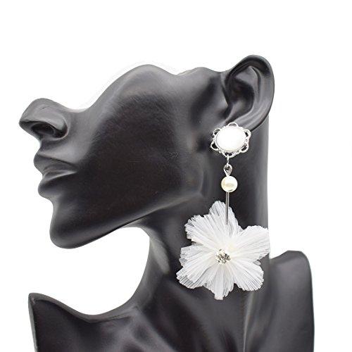 Hawaiian Lace Flower White Opal Chandelier Earrings-Faux Pearl Tassel Drop Earrings for Women