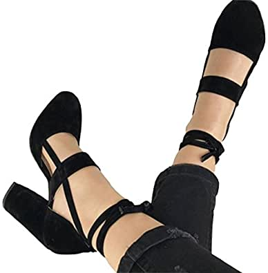 PRETTODAY Women Sexy High Heel Pumps Pink Color Suede Straps Thick High Heeled Shoes (4, Black)