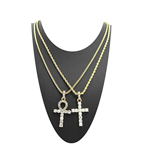 Shiny Jewelers USA MENS ICED OUT EGYPTIAN ANKH CROSS (KEY OF LIFE) BOX CHAIN NECKLACE SET HIP HOP (18