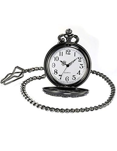 AMPM24 Women Men's Dad Black Dangle Pendant Pocket Quartz Watch Gift + Chain WPK051 by KS (Image #3)