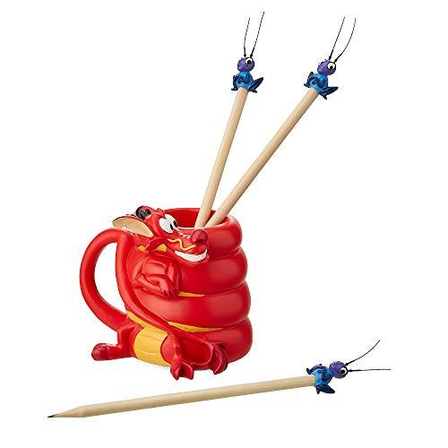 - Disney Mushu and CRI-Kee Pencil Holder and Pencils Set - Mulan No Color