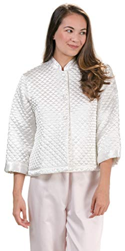 KayAnna Luxurious Quilted Satin Bed Jacket - Ivory (Large (12-14), Ivory)