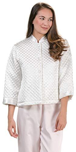- KayAnna Luxurious Quilted Satin Bed Jacket - Ivory (Medium (8-10), Ivory)