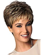 Royalfirst Short Slight Wavy Hair Wig Heat Resistant for Women Lady with Wig Cap