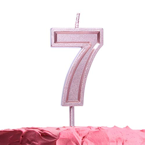 (Get Fresh Number 7 Birthday Candle - Rose Gold Number Seven Candle on Stick - Elegant Pink Number Candles for Birthday Wedding Anniversary - Perfect Baby's 7th Birthday Cake Candle - Pink 7 Candle)