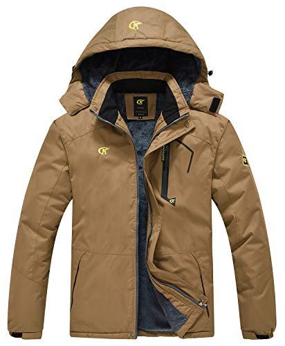 QPNGRP Mens Waterproof Ski Snowboarding Jacket Winter Windproof Snow Coat Coffee Large