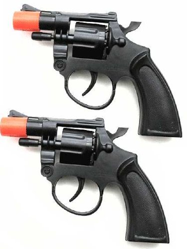 Toy Cap Gun: Set Of 2 Police Style 38 Super Cap 8-Shot Revolvers]()