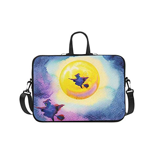 InterestPrint Halloween Witch with Yellow Full Moon Painting Halloween Party 17 17.3 Inch Waterproof Neoprene Laptop Notebook Sleeve Shoulder Bag with Handle & Strap for Women Men