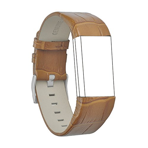 RedTaro Band Compatible with Fitbit Charge 2, Classic Genuine Leather Wristband Metal Connectors, Fitness Strap Women Men Small Large (#105 Bamboo Brown, 5.9