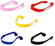 5 x Children Spectacle Glasses Strap Silicone Stretchy Sports Band Cord Holder-Red+Black+Blue+Pink+Yellow