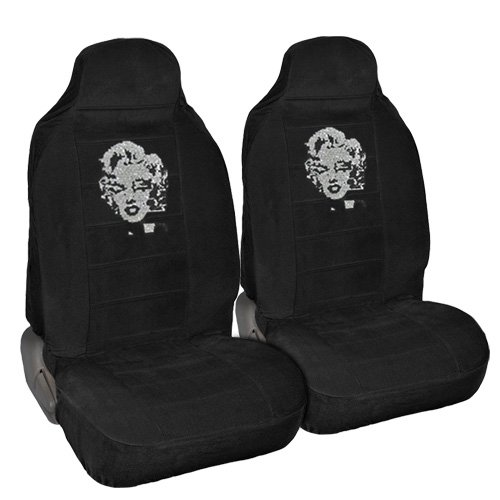 Marilyn Monroe Crystal Diamond Bling Rhinestone Black Car SUV Truck High Back Seat Covers
