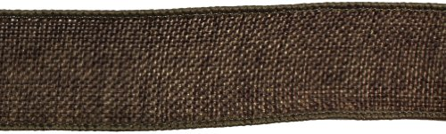 Kel-Toy Wired Faux Burlap Ribbon, 1.5-Inch by 10-Yard, Chocolate Brown ()