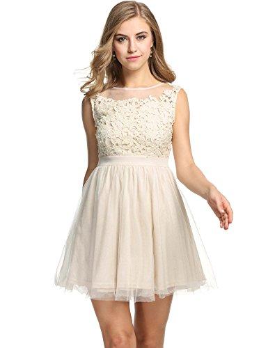 Dress Bodice Halter (ANGVNS Women's Swing Dress Halter Short Dress Beading Tulle Prom Wedding Dress,Beige,Large)